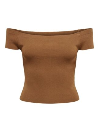 ONLY Solid Colored Off-shoulder Top Women Brown