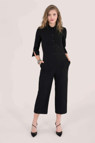 Black 3/4 Sleeve Boiler Suit