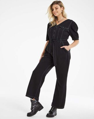 Black Volume Sleeve Wide Leg Jumpsuit