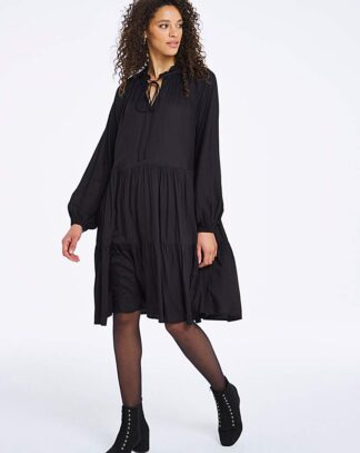 Black Long Sleeved Tiered Smock Dress