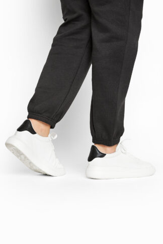 Limited collection white & black vegan faux leather platform trainers in wide fit