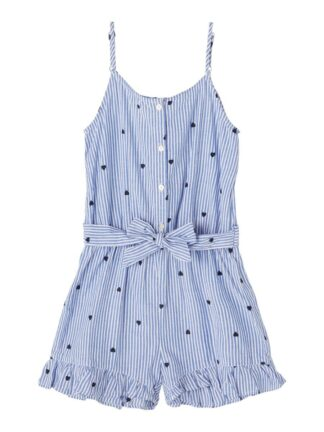 NAME IT Striped Heart Embroidered Playsuit Women Blue