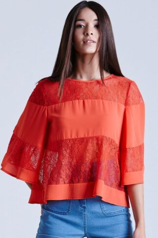 Girls on Film Coral Lace and Chiffon Band Top size: 12 UK, colour: Cor