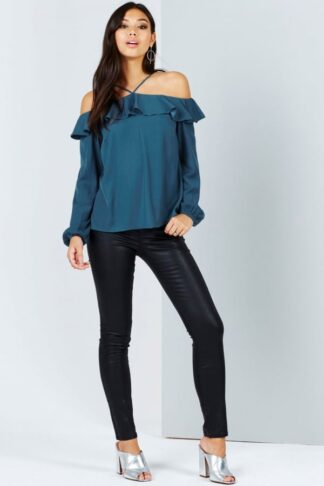 Girls on Film Teal Off The Shoulder Top With Ruffles size: 14 UK, colo