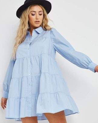 Blue Cotton Tiered Smock Dress