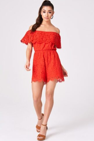 Girls on Film Sorrento Red Lace Bardot Playsuit size: 6 UK, colour: Re