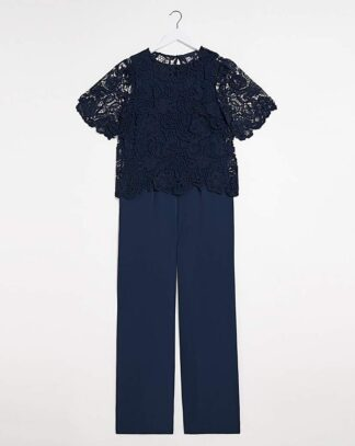Joanna Hope Jumpsuit with Lace Top
