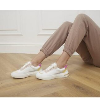 Office Flattering Chunky Lace Up Trainers WHITE PINK YELLOW MIX