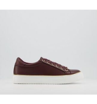 Office Frosty Lace Up With Rand Trainers BURGUNDY WITH GOLD RAND
