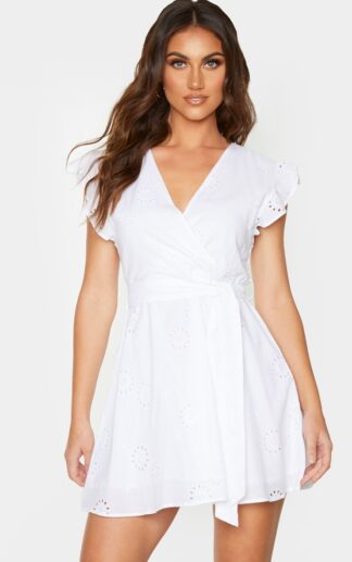 White Broderie Anglaise Frill Tie Waist Shift Dress, White