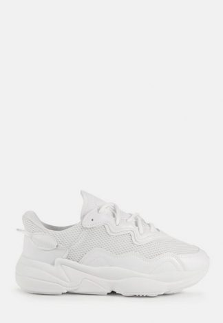 White Faux Suede Panelled Chunky Trainers, White