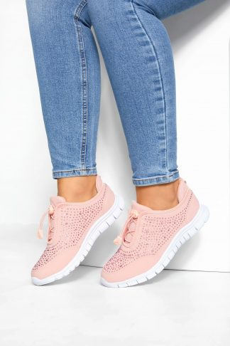 Pink embellished trainers in extra wide fit