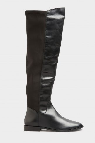 Lts black leather stretch knee high boots