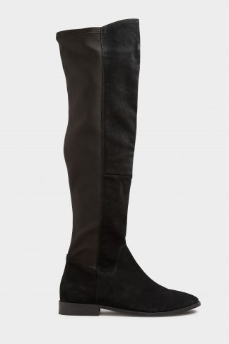Lts black suede stretch knee high boots
